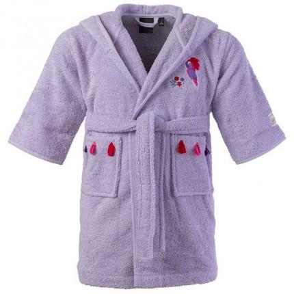 Peignoir bébé coton biologique à capuche brodé Tribu parme