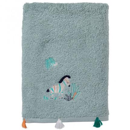 Serviette de toilette coton biologique brodée zèbre Tribu amande