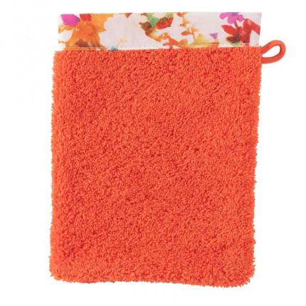 Gant de toilette coton fleur multicolore Vaena safran