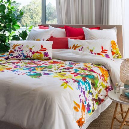 Housse de couette percale de coton fleur multicolore Vaena