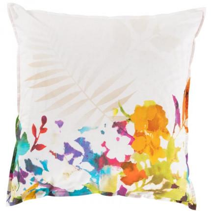 Taie d'oreiller carrée percale de coton fleur multicolore Vaena