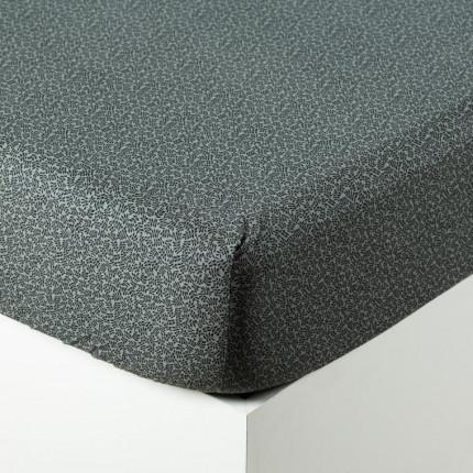 Drap housse coton lavé imprimé bohème végétal Vegetown