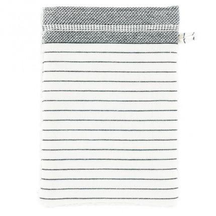 Gant de toilette coton fines rayures Vegetown ivoire