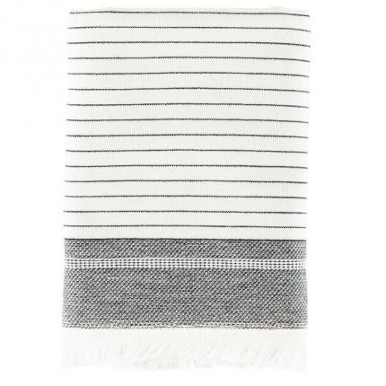 Serviette de toilette coton fouta fines rayures Vegetown ivoire