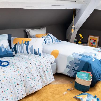 Parure de lit enfant pur coton imprimée paysage graphique West