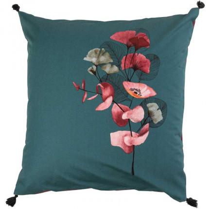Taie d'oreiller carrée percale de coton imprimée floral japonisant Yokosuka