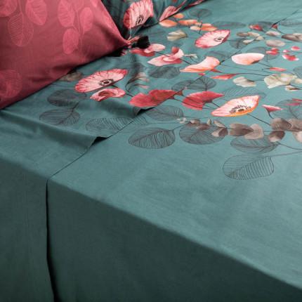 Drap de lit percale de coton imprimé floral japonisant Yokosuka