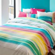 Housse de couette percale de coton rayures multicolores HOLI