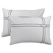 Lot de 2 taies d'oreiller rectangulaires satin de coton unies bandes noires Couture blanc