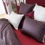 Taie d'oreiller carré percale de coton imprimée Anae griotte
