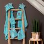 Serviette de toilette bouclette de coton brodée chat Colorful lagon - 3