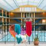 Drap de bain coton rayures multicolores HOLI blanc