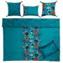 Housse de couette lin et coton imprimé motif floral indien Indie  - 4