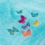 Serviette invité bouclette de coton brodée papillons Issoria lagon - 2