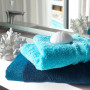 Drap de bain coton géométrique PAROS bleu marine