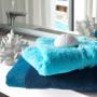 Gant de toilette coton géométrique Paros bleu marine - 1