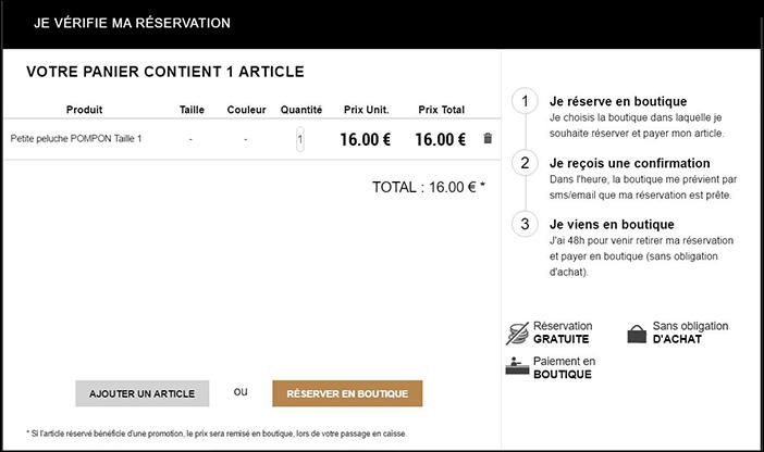Validez le contenu de votre e-réservation
